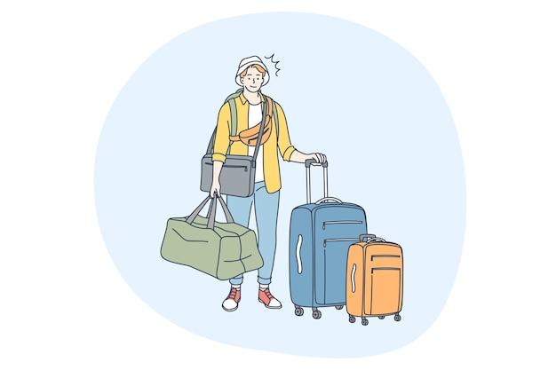 Reisen mit gepäck, urlaub und reise mit kofferkonzept