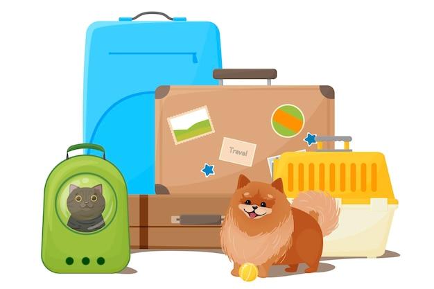 Reisen mit haustier-koffer-rucksack und hundetrage ein glücklicher hund neben einem käfig für den transport einer katze in einer trägerrucksack-vektorillustration einzeln auf weißer hintergrundvektorillustration