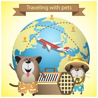 Reisen mit haustieren auf fluglinienkonzept. mit haustieren, zwinger und erdkugel