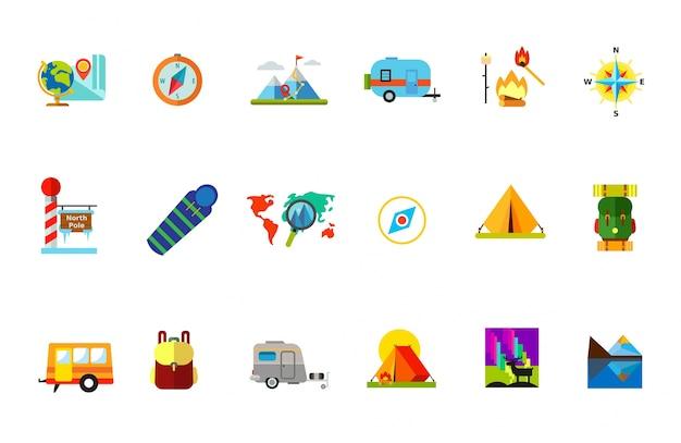 Reisen mit zelt icon set