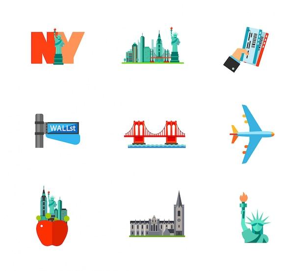 Reisen nach new york icon set