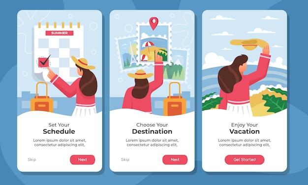 Reisen onboarding app-bildschirme