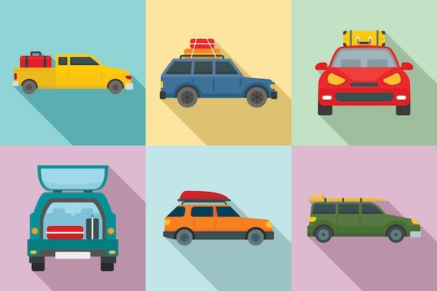 Reisen sie auf dem auto icons set