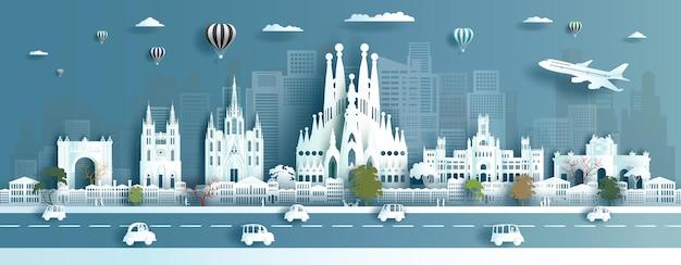 Reisen sie das wahrzeichen der stadt europa, das antike von spanien in barcelona madrid und plaza tour ist