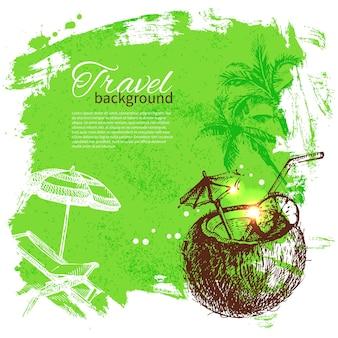 Reisen sie farbenfrohes tropisches design. splash-blob-hintergrund