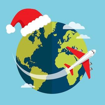 Reisen sie mit dem flugzeug in weihnachtsferien