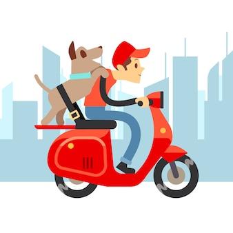 Reisen sie mit haustieren - junger mann auf moto mit hund und stadtlandschaft