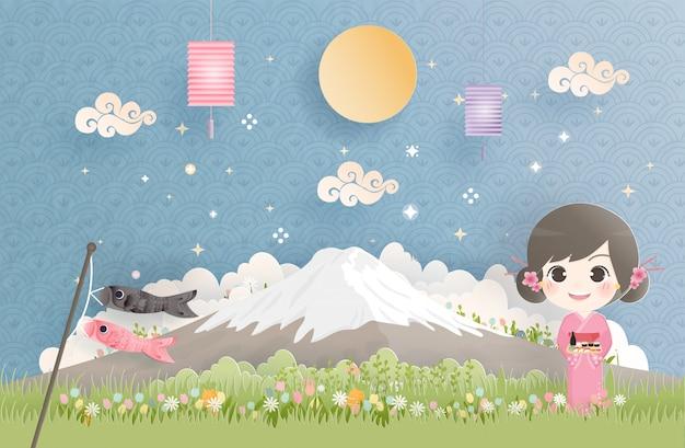 Reisen sie mit kimono-mädchen nach japan