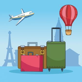 Reisen sie mit koffern um die welt