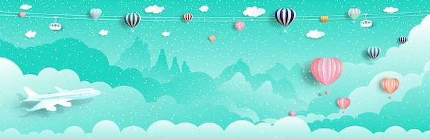 Reisen sie mit luftballons und flugzeug