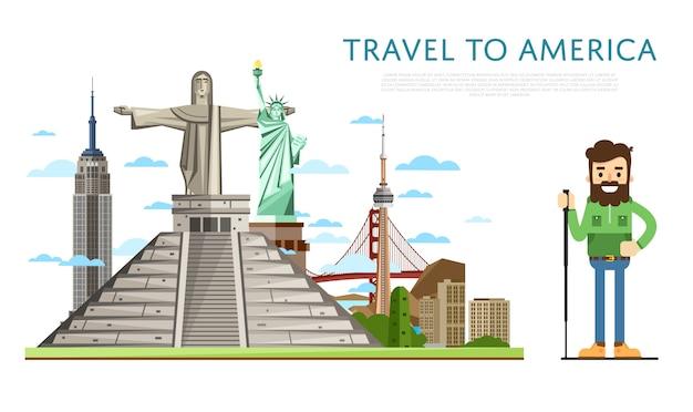 Reisen sie nach amerika banner mit berühmten sehenswürdigkeiten