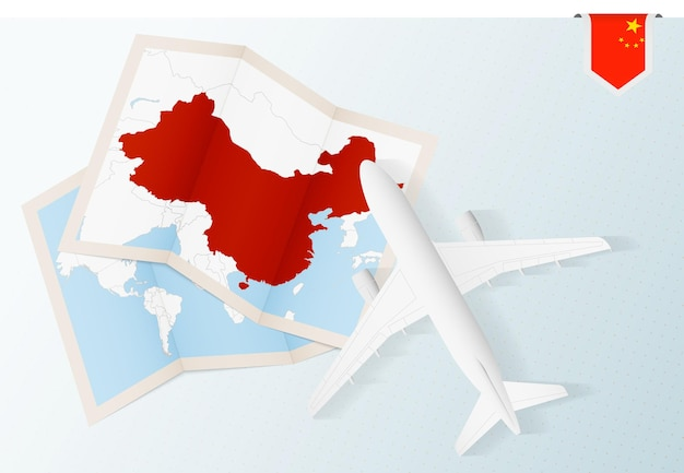 Reisen sie nach china, draufsichtflugzeug mit karte und flagge von china.