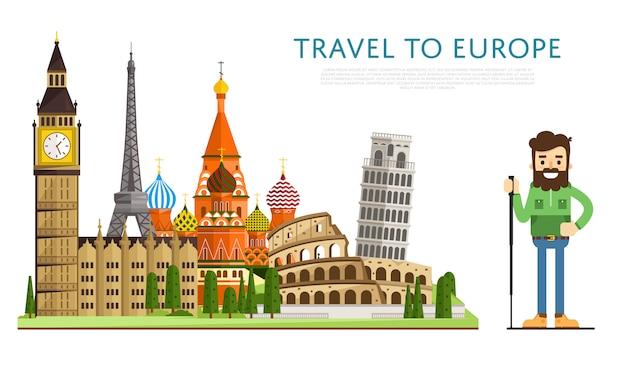 Reisen sie nach europ banner mit berühmten sehenswürdigkeiten