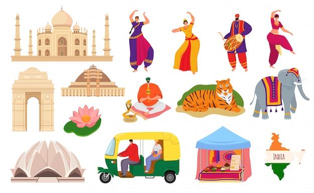 Reisen sie nach indien, indien wahrzeichen tourismus satz von illustrationen. taj mahal gebäude architektur und kultur, hindustani volkstänzer, elefant, karte und gewürze. traditionelle indische symbole.