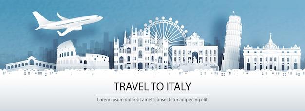 Reisen sie nach italien mit berühmten wahrzeichen.