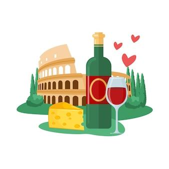 Reisen sie nach italien-vektor-illustration. cartoon italienische antike architektur wahrzeichen kolosseum, flasche und glas traditioneller rotwein, käse berühmtes essen für reisende, tourismus isoliert auf weiß
