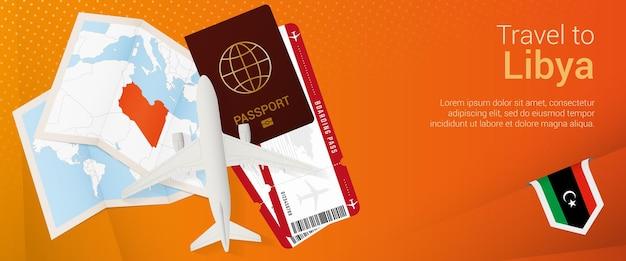 Reisen sie nach libyen popunder-banner reisebanner mit passtickets flugzeug bordkarte