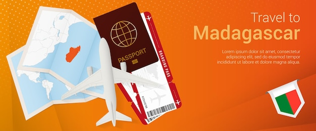 Reisen sie nach madagaskar pop-under-banner. reisebanner mit pass, tickets, flugzeug, bordkarte, karte und flagge von madagaskar.