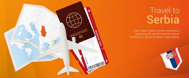 Reisen sie nach serbien pop-under-banner. reisebanner mit pass, tickets, flugzeug, bordkarte, karte und flagge serbiens.