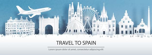 Reisen sie nach spanien mit berühmten wahrzeichen.