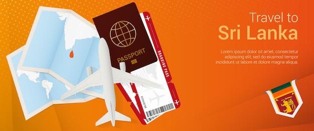 Reisen sie nach sri lanka pop-under-banner. reisebanner mit pass, tickets, flugzeug, bordkarte, karte und flagge von sri lanka.