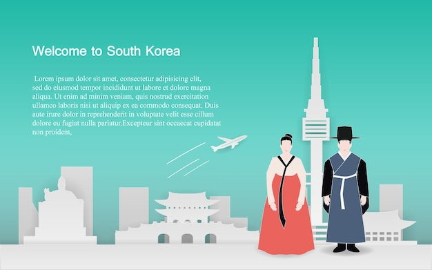 Reisen sie nach südkoreanischem konzept
