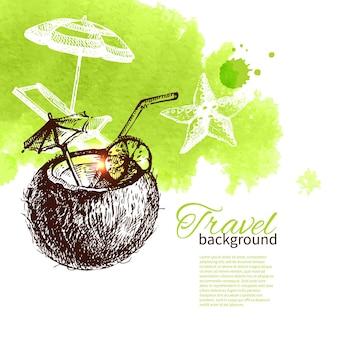 Reisen sie tropisches design. hintergrund mit handgezeichneter skizze und aquarellillustration