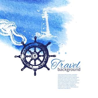 Reisen sie vintage-hintergrund. seenautisches design. handgezeichnete skizze und aquarellillustrationen