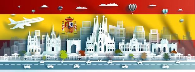 Reisen sie wahrzeichen europa stadt ziel von spanien flagge hintergrund in barcelona madrid und plaza