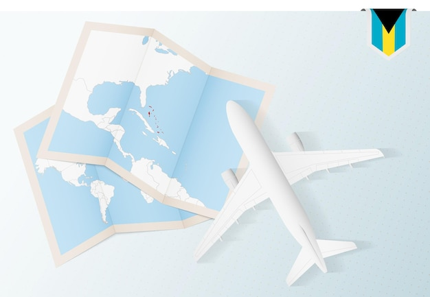 Reisen sie zu den bahamas, draufsichtflugzeug mit karte und flagge der bahamas.