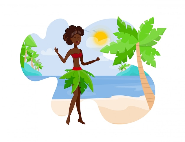 Reisen sie zur paradise island flat color illustration