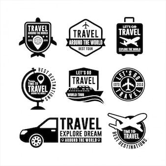 Reisen um die welt design logo set