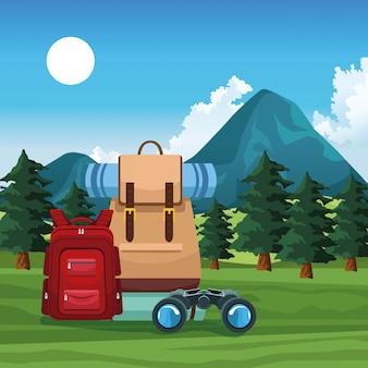 Reisen und abenteuer mit rucksack