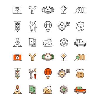 Reisen und standort skizzieren und flache farben symbole