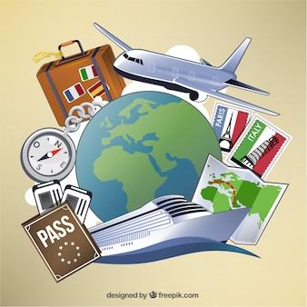 Reisen und tourismus elemente