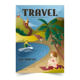 Reisen zu verschiedenen orten poster vorlage