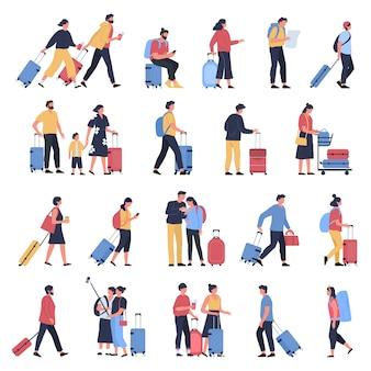 Reisende am flughafen. geschäftstouristen, leute, die am flughafenterminal mit gepäck warten, zeichen, die gehen und zum einsteigen illustrationssatz eilen