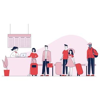 Reisende am flughafen warten in der warteschlange auf den check-in