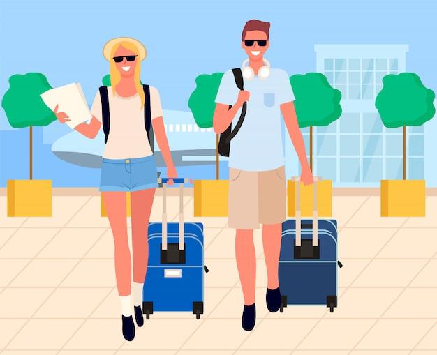 Reisende ankunft, touristen am flughafen