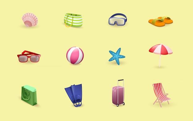 Reisende artikel, badeort, strandzubehör