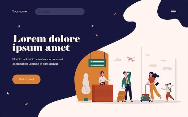 Reisende, die für die flugregistrierung laufen. passagier, flugzeug, flughafen flachbild vector illustration. urlaubs- und reisekonzept für banner, website-design oder landing-webseite