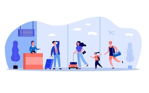 Reisende, die sich für eine flugregistrierung bewerben