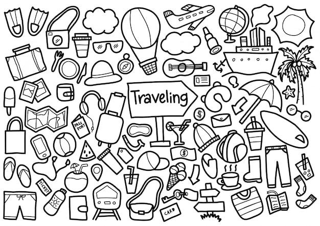 Reisende doodle-elemente