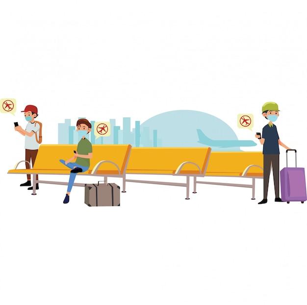 Reisende erhielten eine benachrichtigung über flugstornierungen im wartezimmer des flughafens
