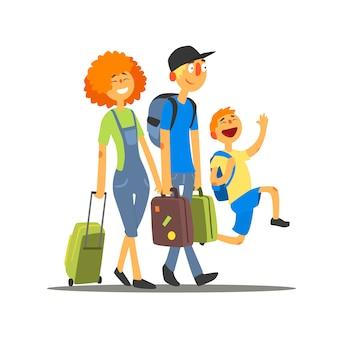 Reisende familie, die in den urlaub geht