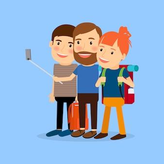 Reisende familie zeichentrickfigur