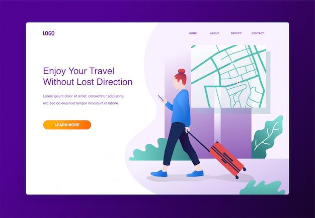 Reisende frau mit kartenanwendung auf dem smartphone, für die website