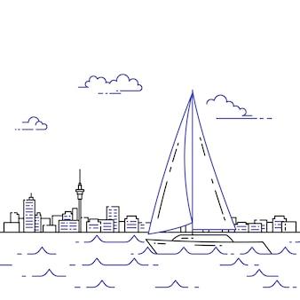 Reisende horizontale fahne mit segelboot auf wellen