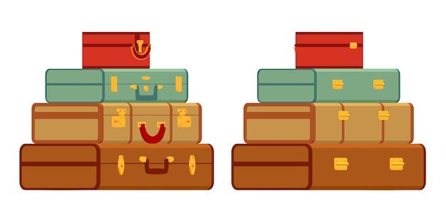 Reisende koffer im stapel