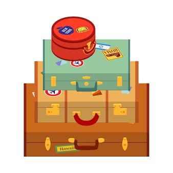 Reisende koffer mit den aufklebern